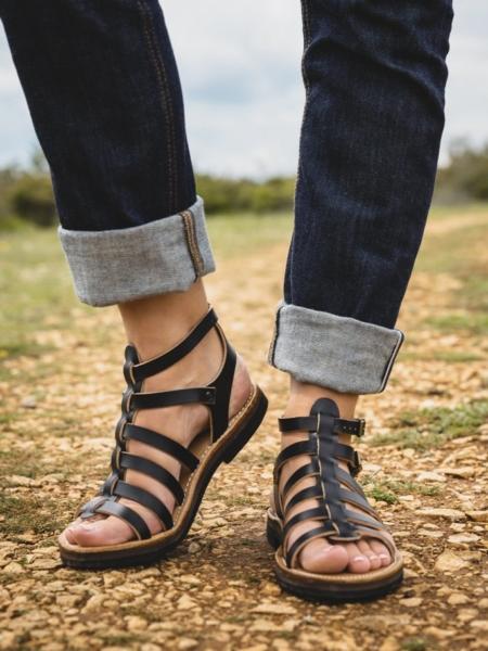 Sandales romaines noires