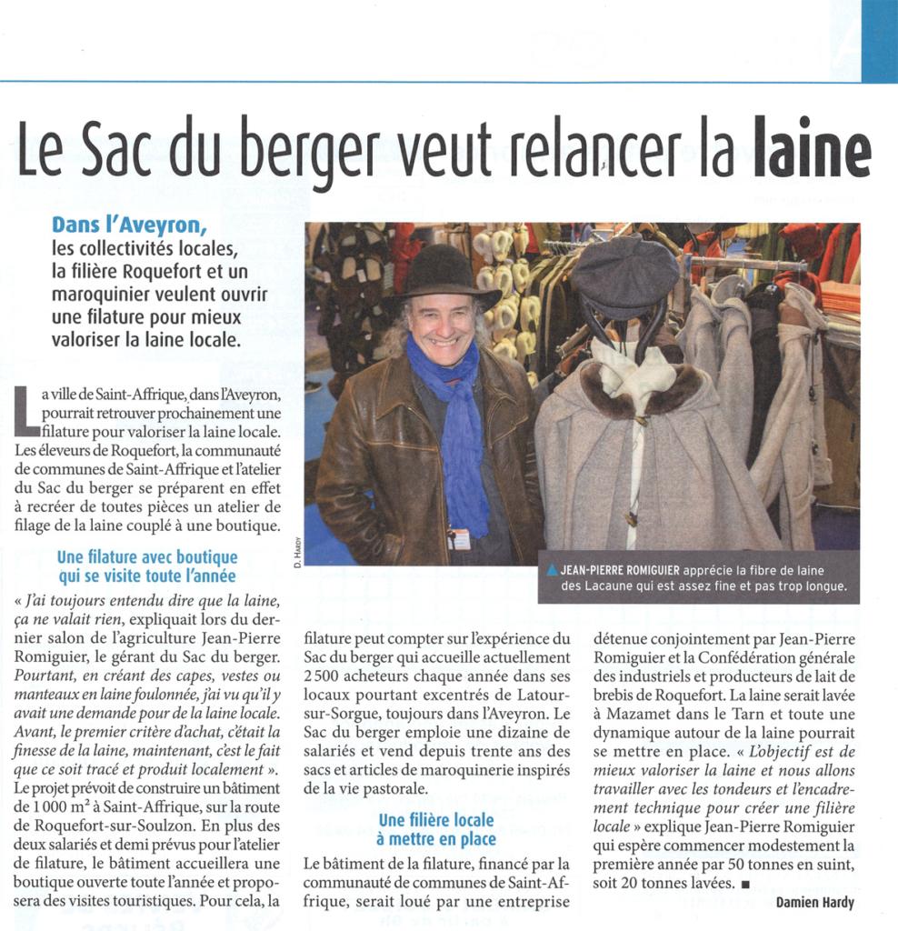 Lors du salon de l'agriculture de Paris en mars 2016, Jean-Pierre Romiguier a été interviewé quant à son projet de relance de la filière laine dans le sud-Aveyron.